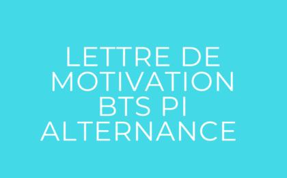 lettre de motivation pour le BTS PI